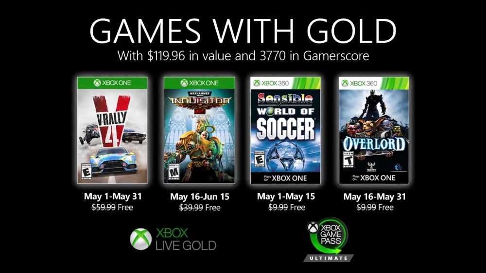 Microsoft ha svelato i Games with Gold di maggio 2020