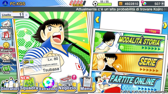 Captain Tsubasa Dream Team disponibile su mobile